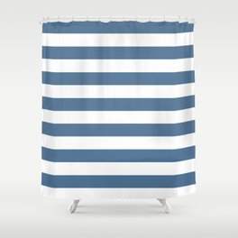Blue and White Stripes Shower Curtain