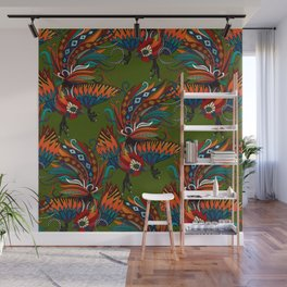 rooster ink green Wall Mural