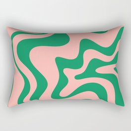 Liquid Swirl Modern Retro Abstract Pattern in Pink and Bright Green Rectangular Pillow