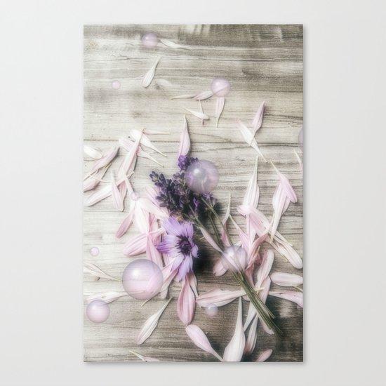 Bubbles, flowers, petals, and planks Canvas Print
