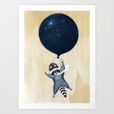 Raccoon Balloon Art Print
