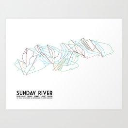Sunday River, ME - Minimalist Trail Map Art Print