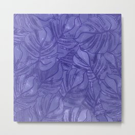 Monstera leaves - Ultra Violet and Lilac Metal Print