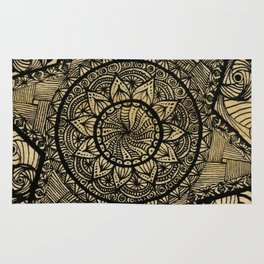 Star Zentangle in wood Rug