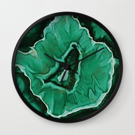 Malachite Marble With Gold Veins Wall Clock