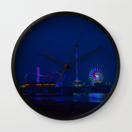 Galveston Pleasure Pier At Night Wall Clock