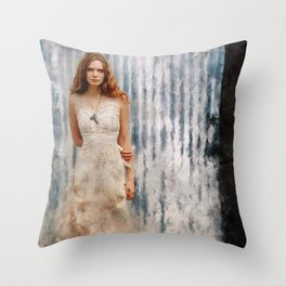 The Mysterious Redhead Gypsy Woman Throw Pillow