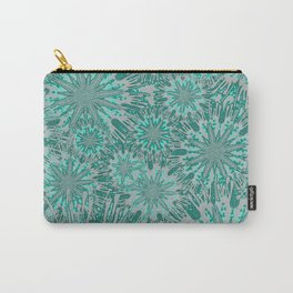 Teal & Aqua Floral Fireworks Abstract Carry-All Pouch