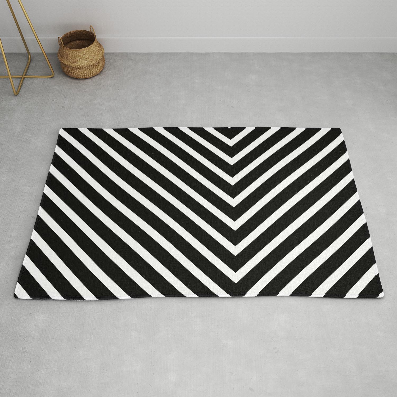 Black White Zig Zag Rug By