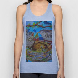 Two Birds In Colorful Nest With Quotes About Wrens Unisex Tank Top