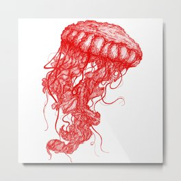 Jellyfish (Red on White Variant) Metal Print