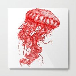 Jellyfish (Red on White Variant) Metal Print