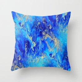 Blue & Gold Abstract d171011 Throw Pillow