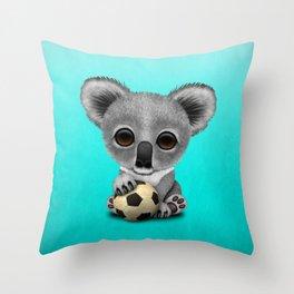 Cute Baby Koala With Football Soccer Ball Throw Pillow