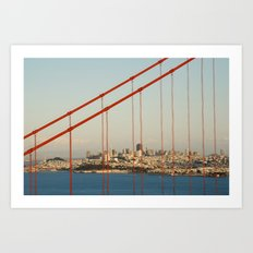Golden San Gate Francisco Bridge Art Print