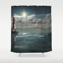 Lighthouse Under Back Light Shower Curtain