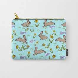 Hoppy Happy Sweet Spring Bunny Floral Design Carry-All Pouch