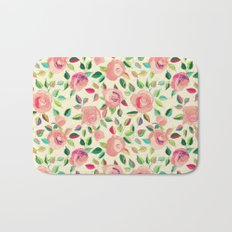 Pastel Roses in Blush Pink and Cream  Bath Mat
