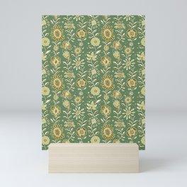 wonky wildflower waterfall ... tan & greens Mini Art Print