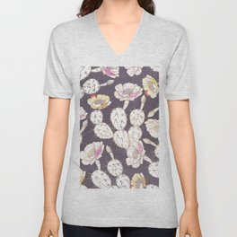 Modern white gold mauve lavender catus floral Unisex V-Neck
