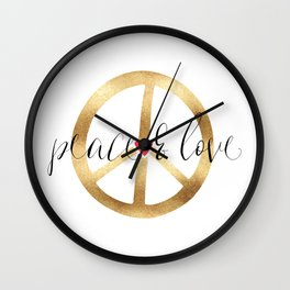 Gold Red Heart Peace Sign Wall Clock
