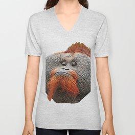 Orangutan Face Ape Samurai Beard Protruding Geometric Cheeks Unisex V-Neck