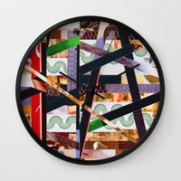 ruben ireland Wall Clocks featuring Ruben (stripes 19) by Wayne Edson Bryan
