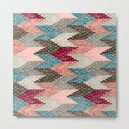 Kilim Weaving Structure Burgundy & Light Blue Metal Print