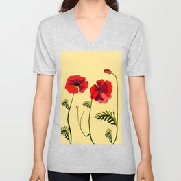 Adorable Red Poppies Unfold Unisex V-Neck