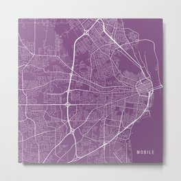 Mobile Map, USA - Purple Metal Print