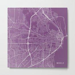 Mobile Map, USA - Purple Metal Print