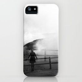 A Girl in the Fog of Owakudani - Hakone, Japan - Black and white Holga double exposure film photograph iPhone Case