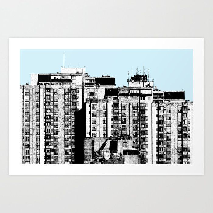 Small Living Boxes BLUE Art Print