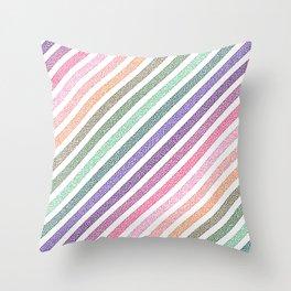 stripEs Pastel Rainbow Pixels Throw Pillow
