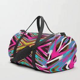 psychedelic geometric graffiti abstract pattern in pink blue yellow brown Duffle Bag