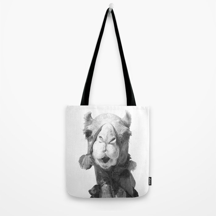 Black and White Camel Portrait Tote Bag
