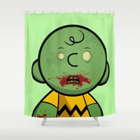 charlie brown Shower Curtains featuring Zombie Charlie Brown by rkbr