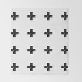 Watercolor Swiss Cross (White) Throw Blanket
