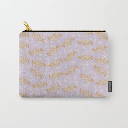 Gold & pearl watercolor flowers on lilac seamless pattern_2 Carry-All Pouch