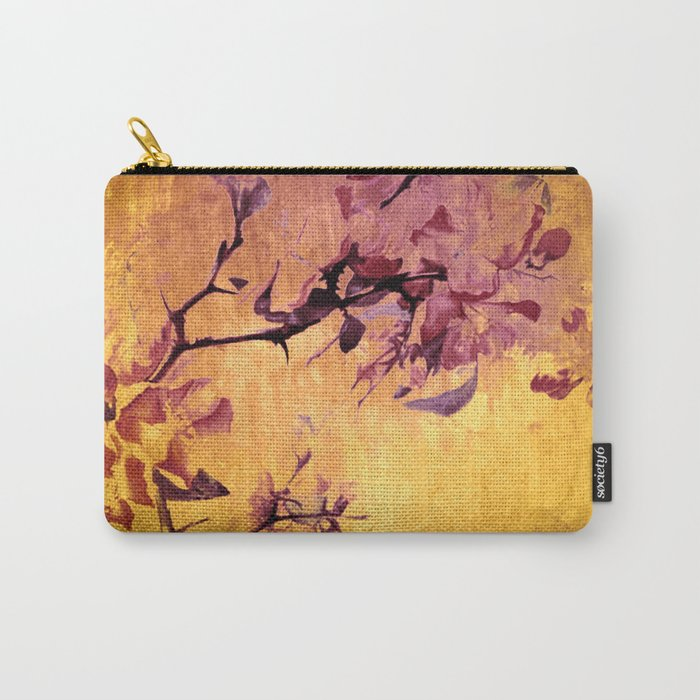 japanese crab apple flowers on golden tones Carry-All Pouch