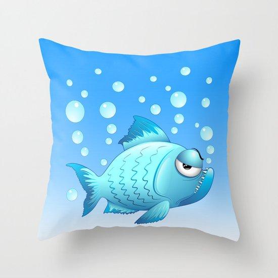 Grumpy fish cartoon throw pillow by bluedarkart society6 for Fish throw pillows