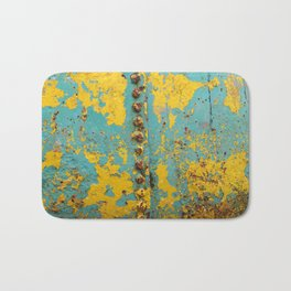 yellow and blue worn paint and rust texture Bath Mat