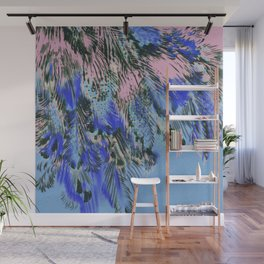 feather texture in blue and light pink Wall Mural