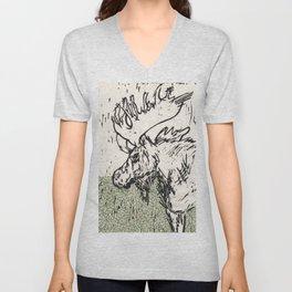 I See Leaves of Green Black White Green Moose Linocut Block Print Graphic Design Unisex V-Neck