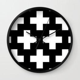 Swiss Cross W&B Wall Clock