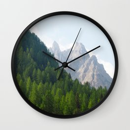Forest Pines and Mountain Spikes Wall Clock