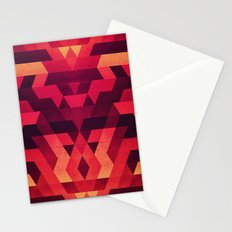 Abstract  geometric triangle texture pattern design in diabolic future red Stationery Cards