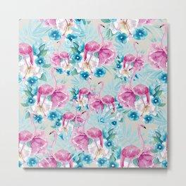 Flamingo and flower pattern Metal Print