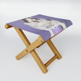 Happy Birthday Fat Cat In Party Hat With Cake Folding Stool