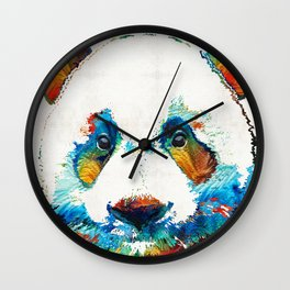 Colorful Panda Bear Art By Sharon Cummings Wall Clock